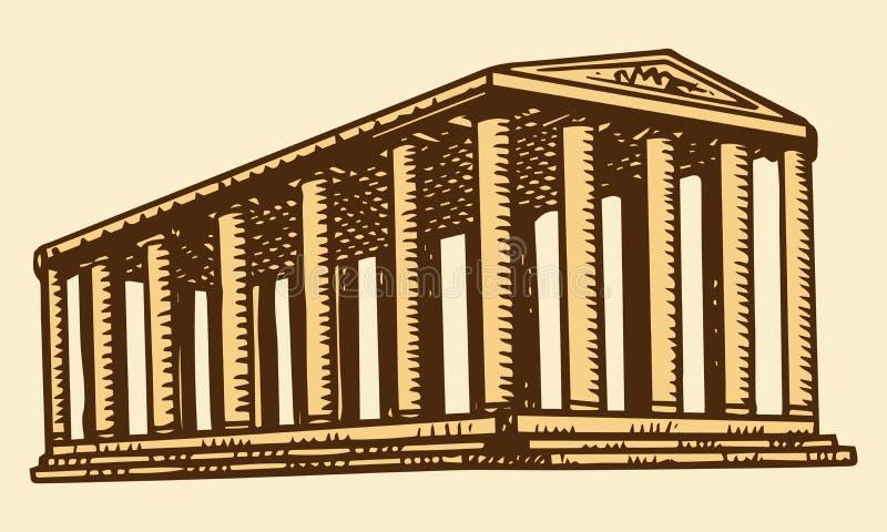 与专栏的历史大厦 古老世界的七奇迹 在以弗所的亚底米神庙 ?? 向量例证