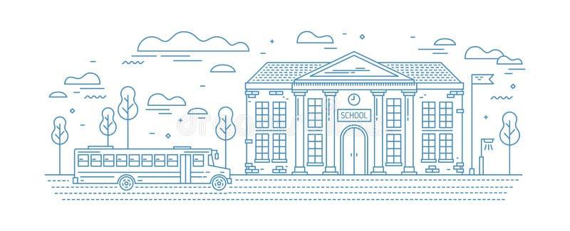 与专栏的古典派驾驶在路的孩子或学生的大厦和公共汽车画与在白色的等高线 库存例证