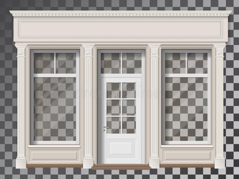 与专栏透明窗口的商店前面 向量例证