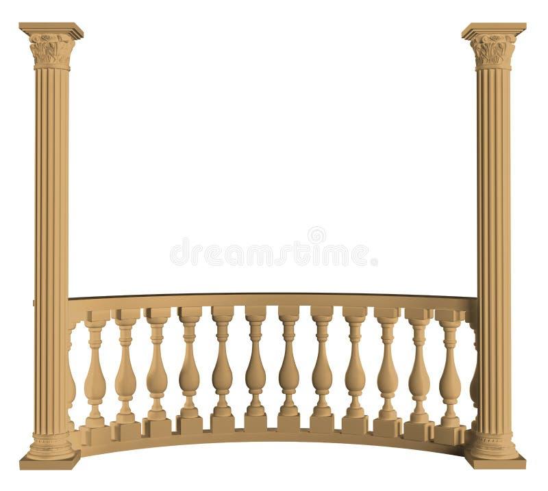 与专栏3D翻译的楼梯栏杆在白色背景isol 向量例证