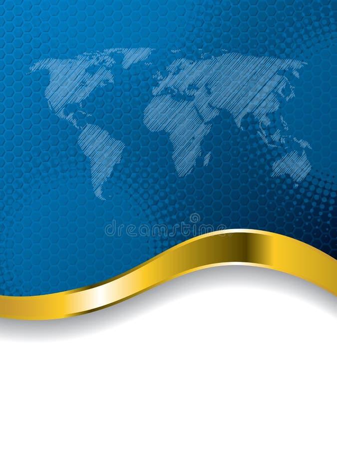 与世界地图和中间影调的蓝色企业小册子设计 皇族释放例证