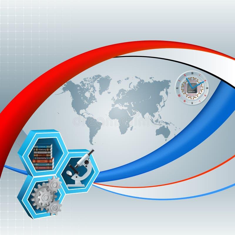 与世界地图和知识翻译的背景在研究研究结果过程中 向量例证