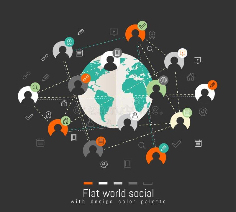 与世界地图和社会网络概念的平的设计观念 皇族释放例证