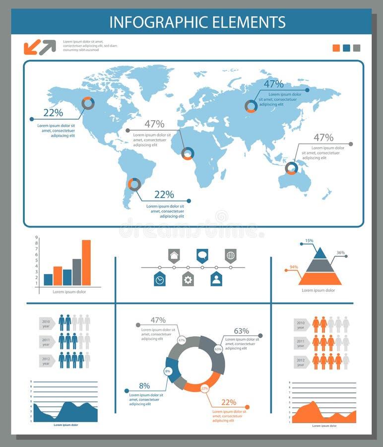 与世界地图图表和ch的详细的infographic元素集 库存例证