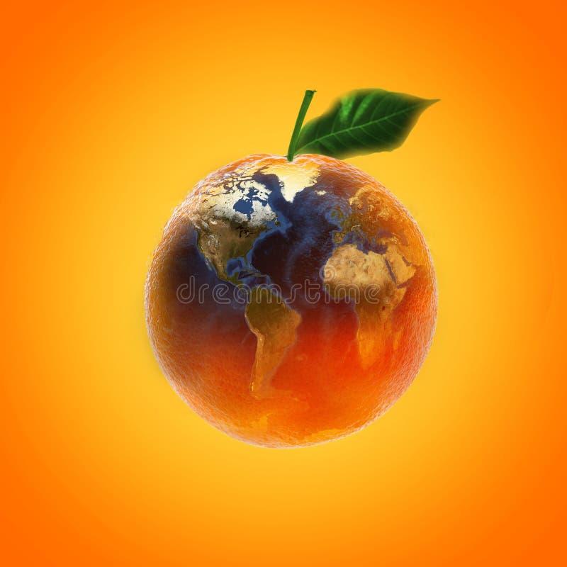 与世界地图图象来源的新鲜的成熟橙色果子从美国航空航天局 免版税库存图片