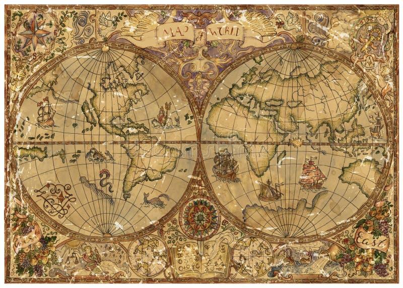 与世界地图地图的葡萄酒例证在老织地不很细羊皮纸 库存例证