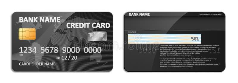 与世界地图摘要设计的现实详细的黑银行信用卡被隔绝的 与银行的信用塑料卡片 皇族释放例证