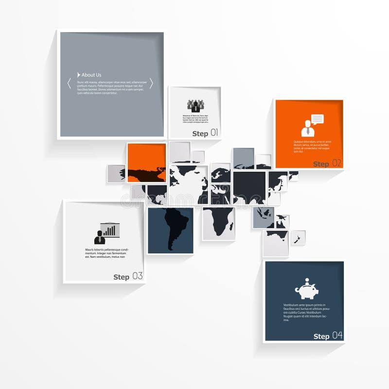 与世界地图的抽象minimalistic方形的设计 皇族释放例证