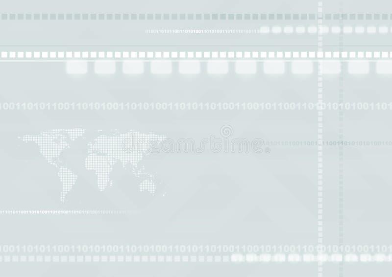 与世界地图的浅兰的高科技未来派背景 向量例证
