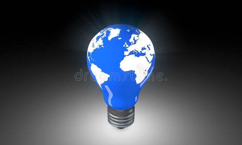 与世界地图的电灯泡 库存照片