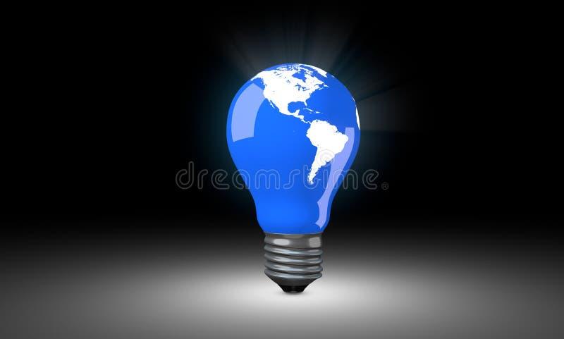 与世界地图的电灯泡 免版税库存照片