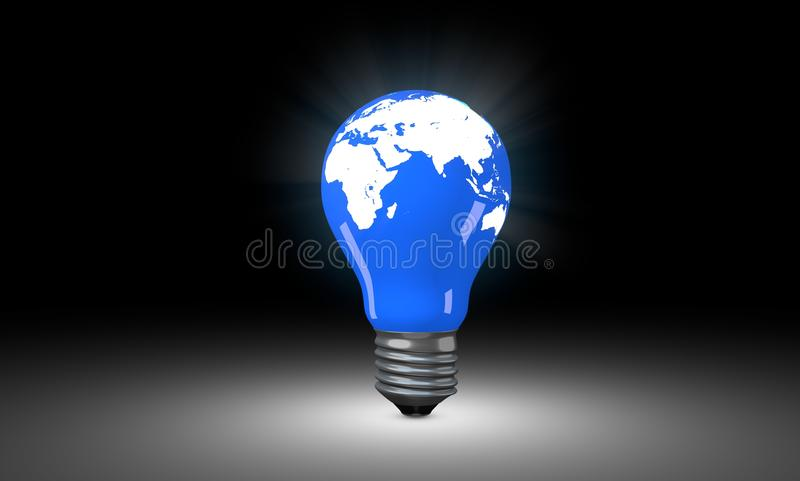 与世界地图的电灯泡 免版税库存图片