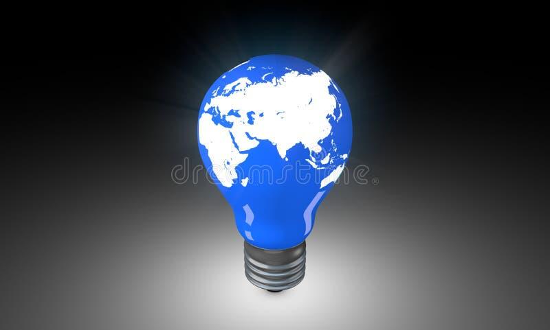 与世界地图的电灯泡 库存图片