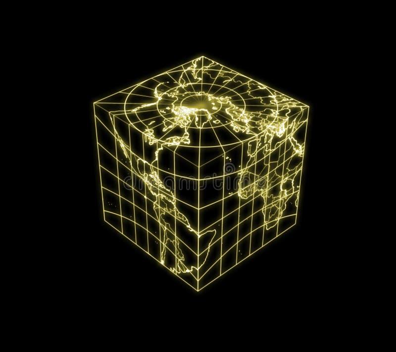 与世界地图的立方体地球 库存例证