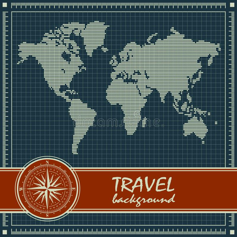 与世界地图的蓝色减速火箭的旅行背景 皇族释放例证