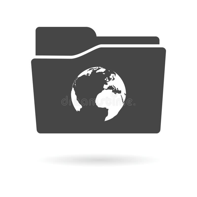 与世界地图的被隔绝的文件夹象 向量例证
