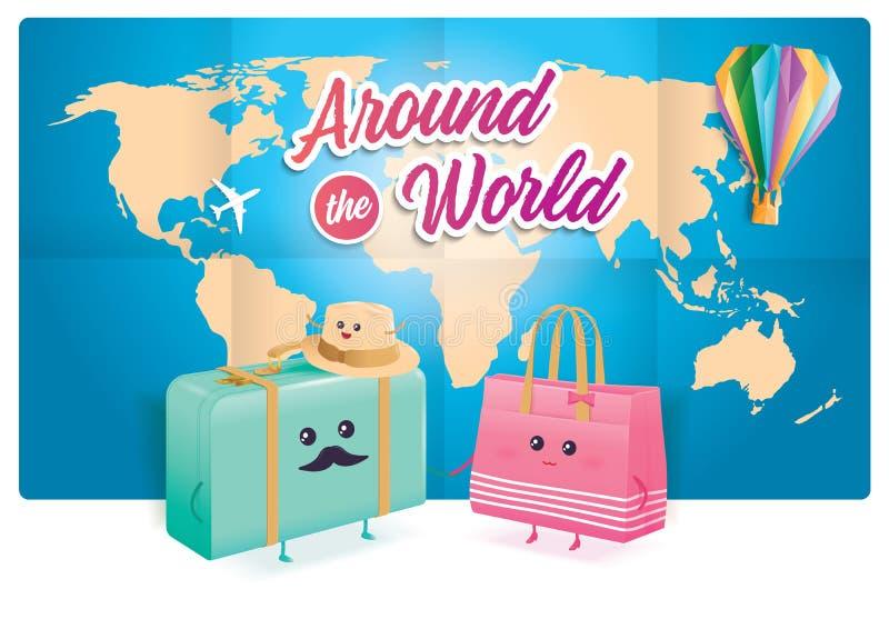 与世界地图的逗人喜爱的旅行的袋子在背景 皇族释放例证