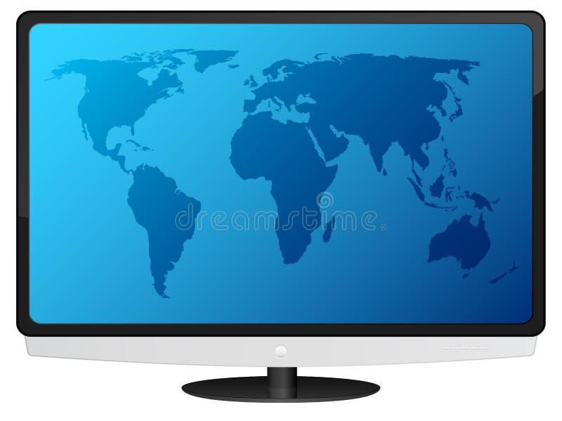 与世界地图的Lcd电视 库存例证