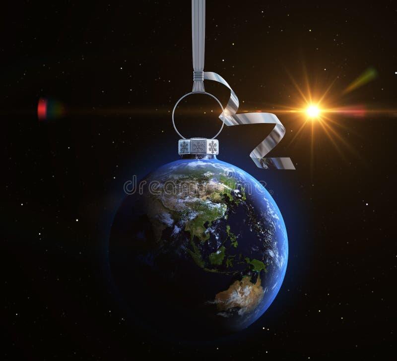 与世界地图纹理的圣诞节球 库存例证
