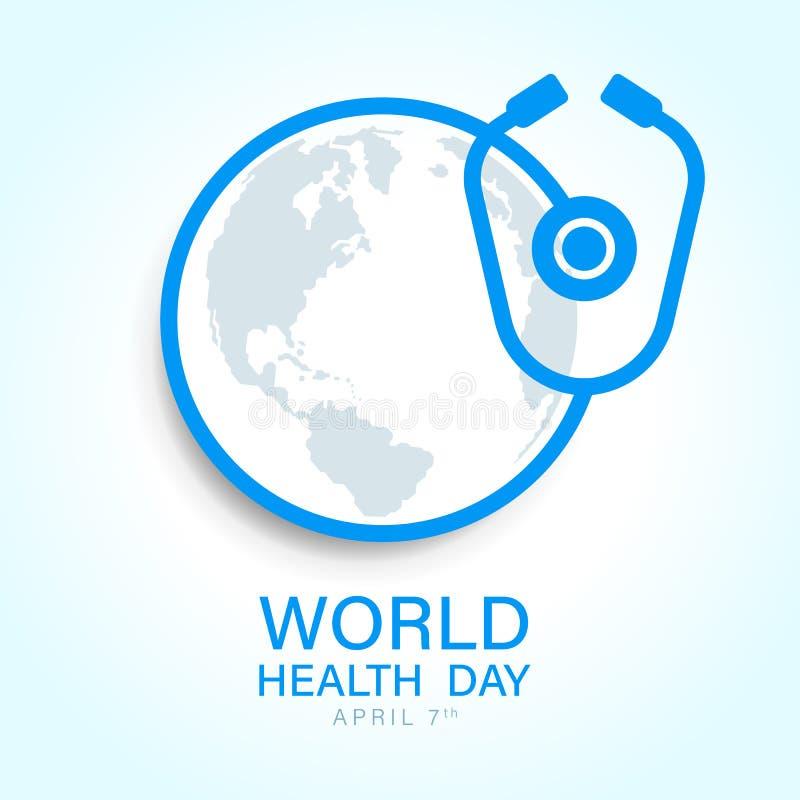 与世界地球地图的世界卫生日在听诊器标志传染媒介设计附近的圈子 向量例证