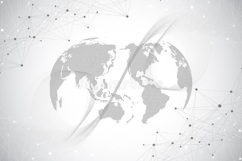 与世界地球的大数据形象化 与动态波浪的抽象传染媒介背景 全球网络连接 皇族释放例证