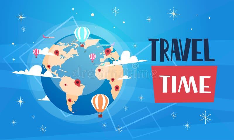 与世界地球的旅行海报在蓝色背景减速火箭的旅游业横幅 向量例证