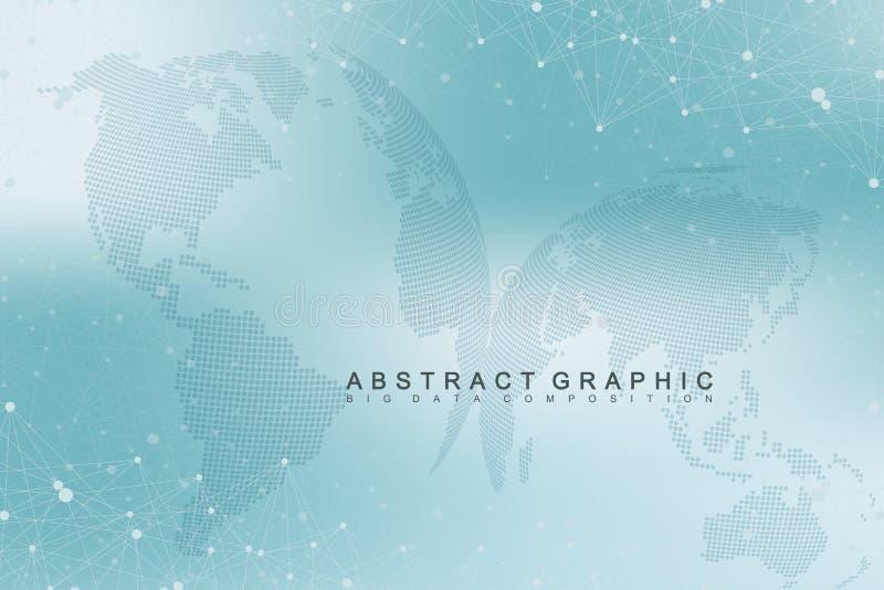 与世界地球的真正图表背景 全球网络连接 数字资料形象化 连接两 皇族释放例证