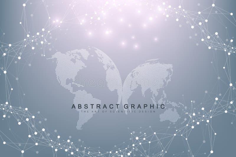 与世界地球的真正图表背景 全球网络连接 数字资料形象化 连接两 向量例证