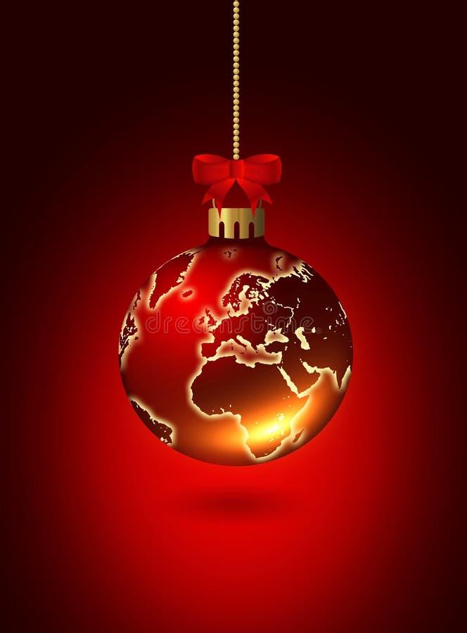 与世界patternover红色的圣诞节玻璃球 皇族释放例证