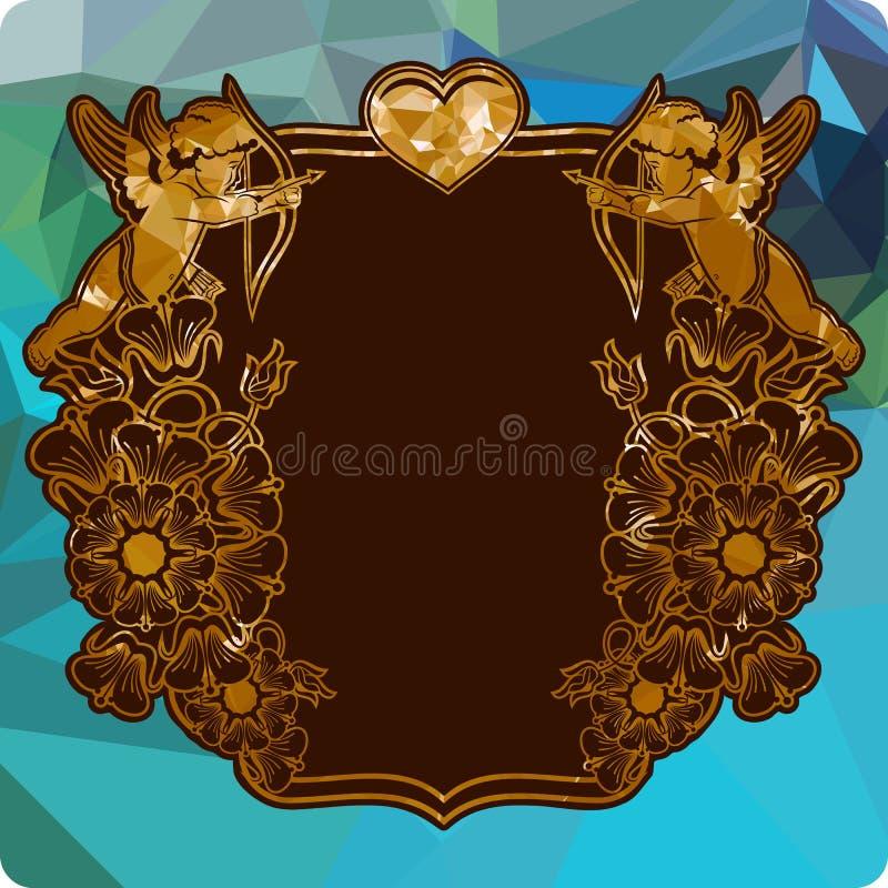 与丘比特剪影的五颜六色的标签与弓、心脏和花的 皇族释放例证