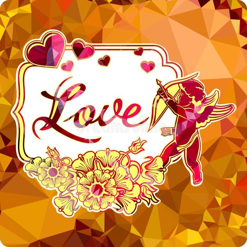 与丘比特剪影的五颜六色的标签与弓、心脏和花的 库存例证