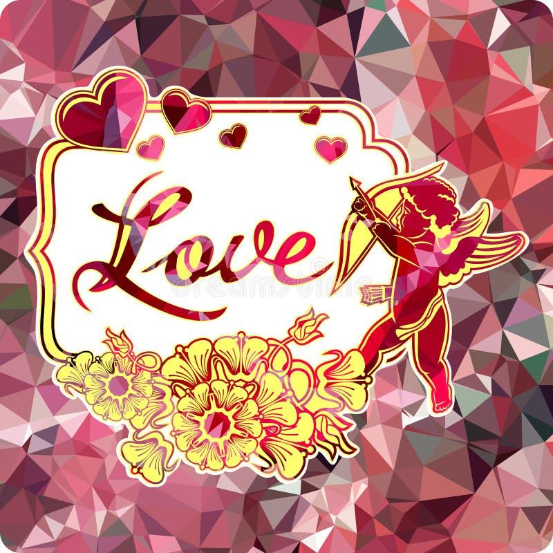 与丘比特剪影的五颜六色的标签与弓、心脏和花的 向量例证