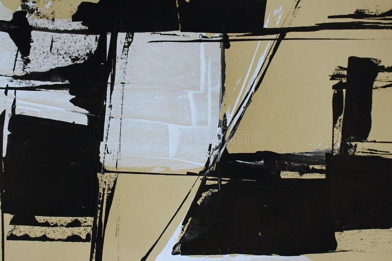 与丙烯酸漆的黑白抽象 免版税库存照片