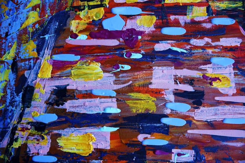与丙烯酸酯的颜色的抽象派绘画 库存照片