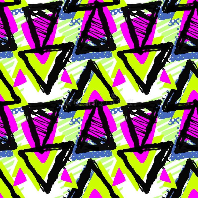与丙烯酸酯的blo的抽象都市无缝的质朴的几何样式 皇族释放例证