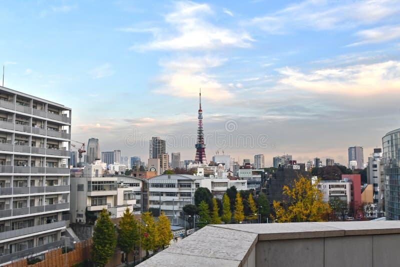与东京铁塔的东京都市都市风景 图库摄影