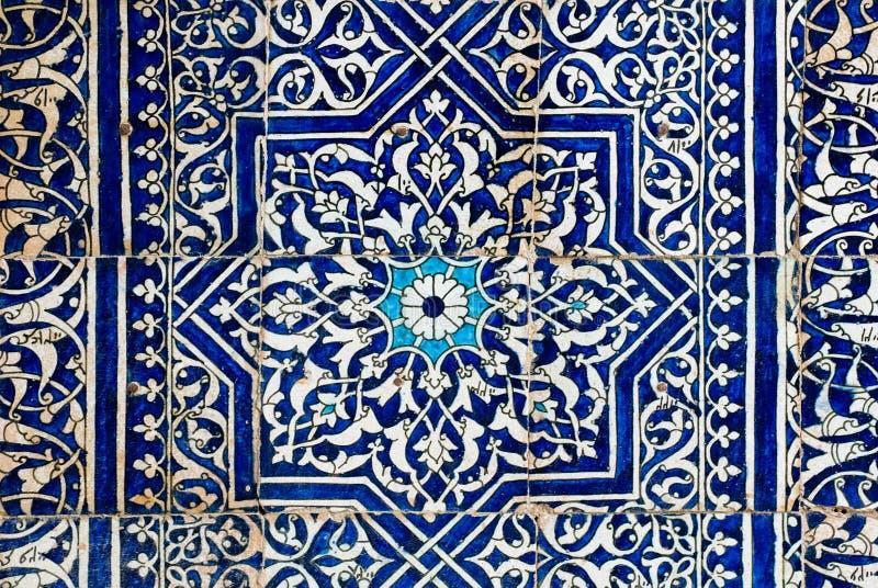 与东方装饰品的铺磁砖的背景 库存例证