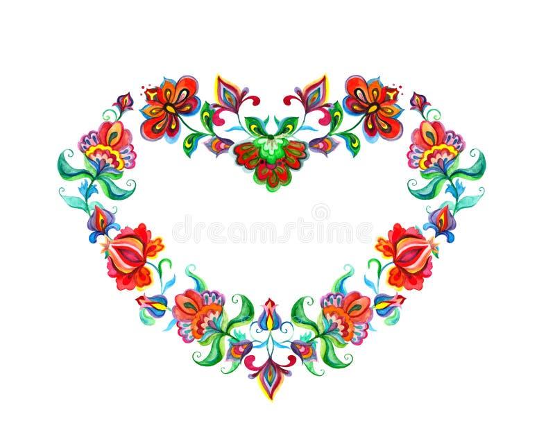 与东欧装饰种族花的心脏 斯拉夫的水彩 库存例证