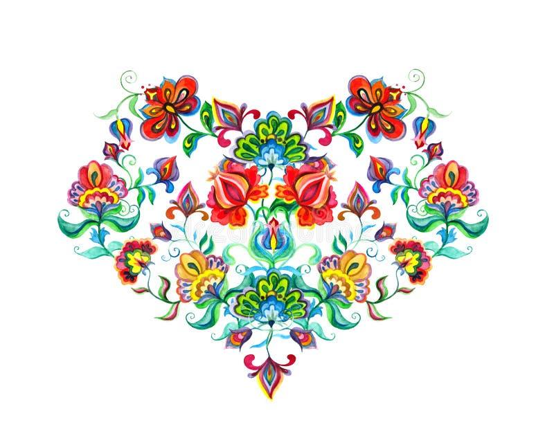 与东欧装饰种族花的心脏 水彩刺绣主题 皇族释放例证