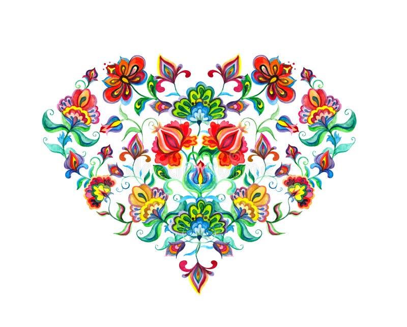 与东欧装饰种族花的心脏 水彩民间艺术 库存例证