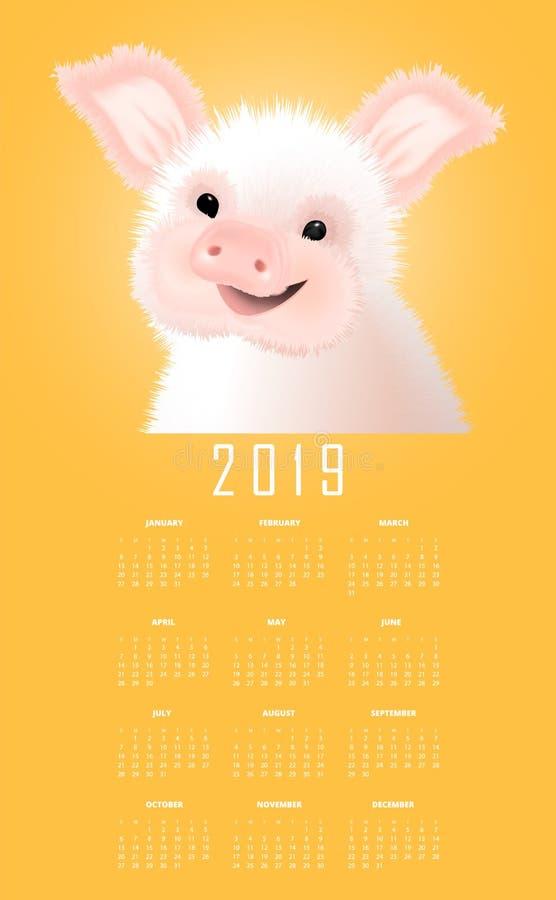 与东部标志的日历的2019猪 在黄色背景的愉快的微笑的贪心传染媒介illustartion 皇族释放例证