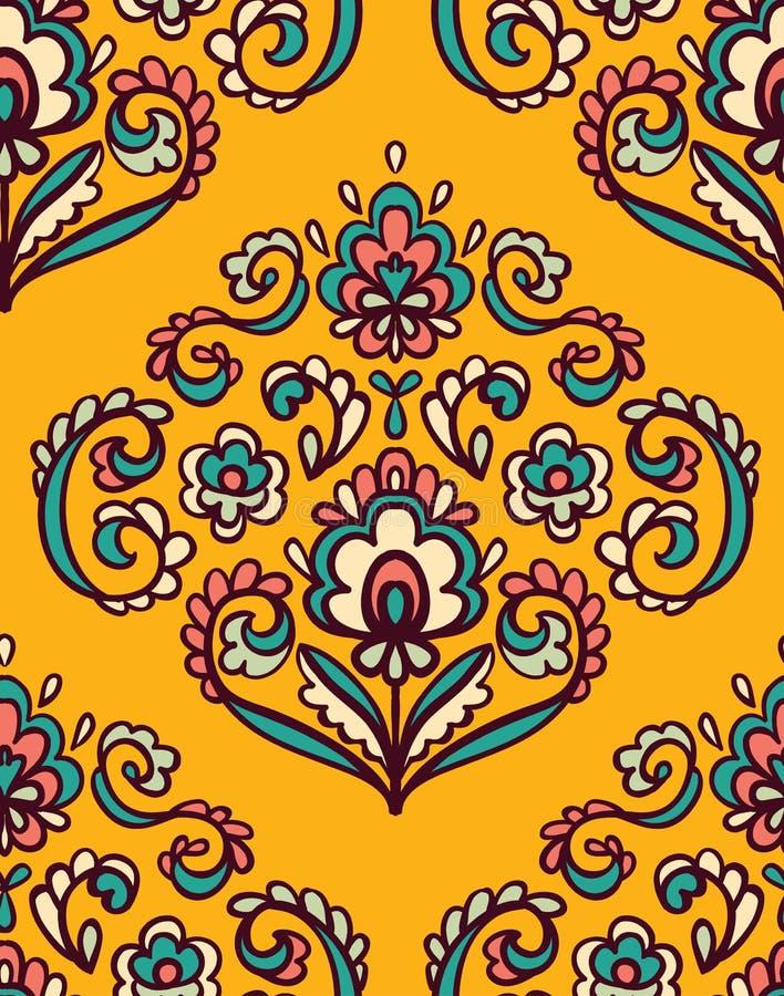 与东部花卉元素的葡萄酒华丽无缝的样式 装饰传染媒介背景 向量例证