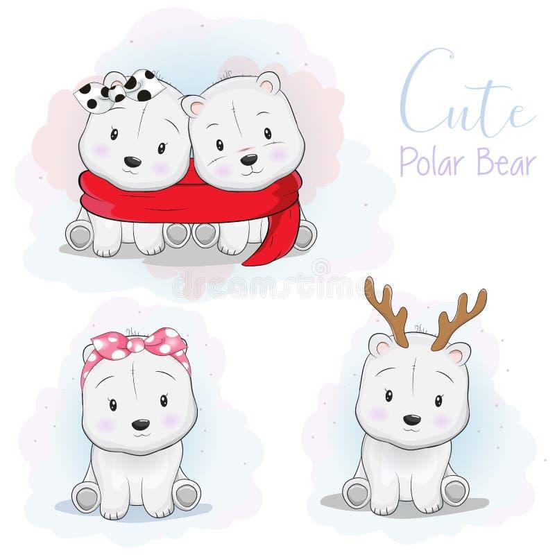 与丝带、围巾和鹿垫铁的被设置的逗人喜爱的动画片北极熊在白色背景中 库存例证
