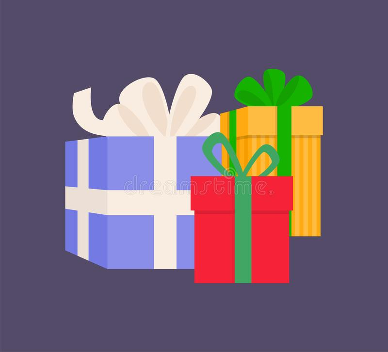 与丝带传染媒介的礼物盒不同的大小 皇族释放例证