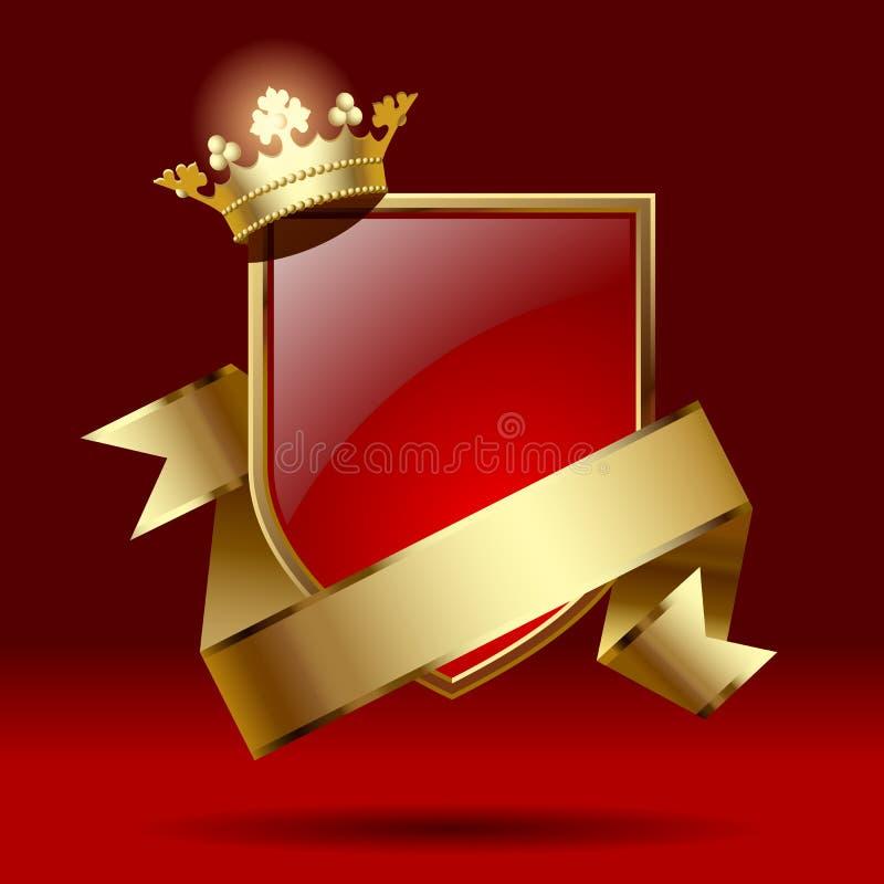 与丝带和冠的徽章 库存例证