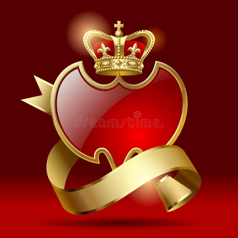 与丝带和冠的徽章 向量例证