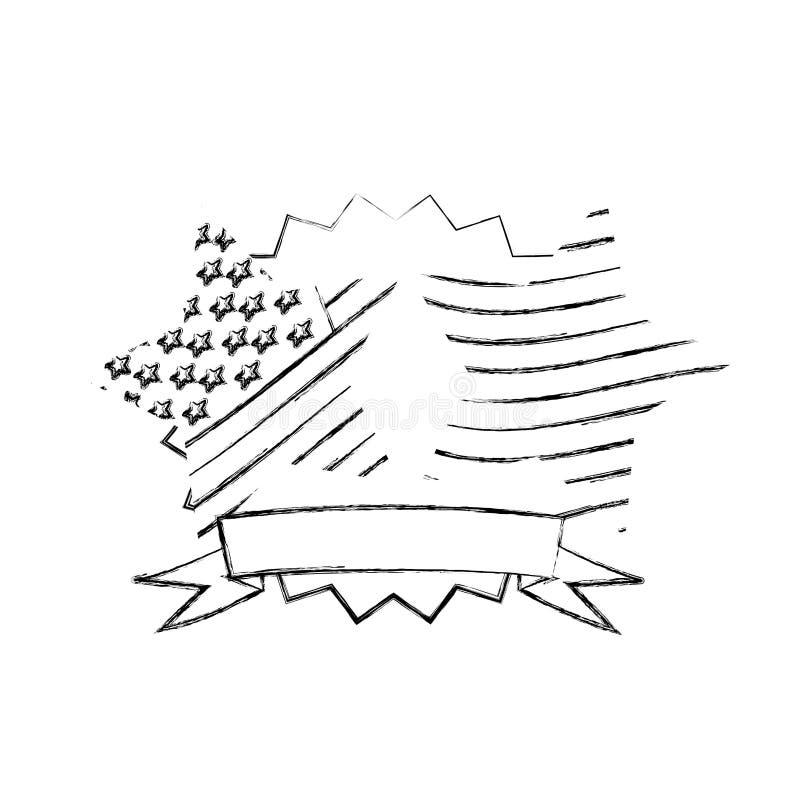 与丝带和星美国旗子的被弄脏的剪影装饰框架 向量例证