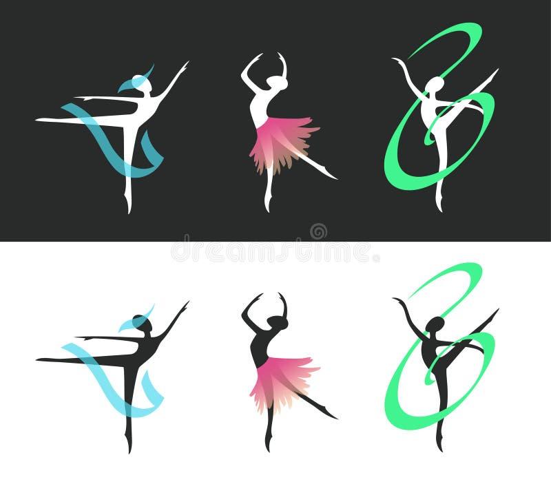 与丝带和裙子的跳芭蕾舞者剪影 免版税库存图片