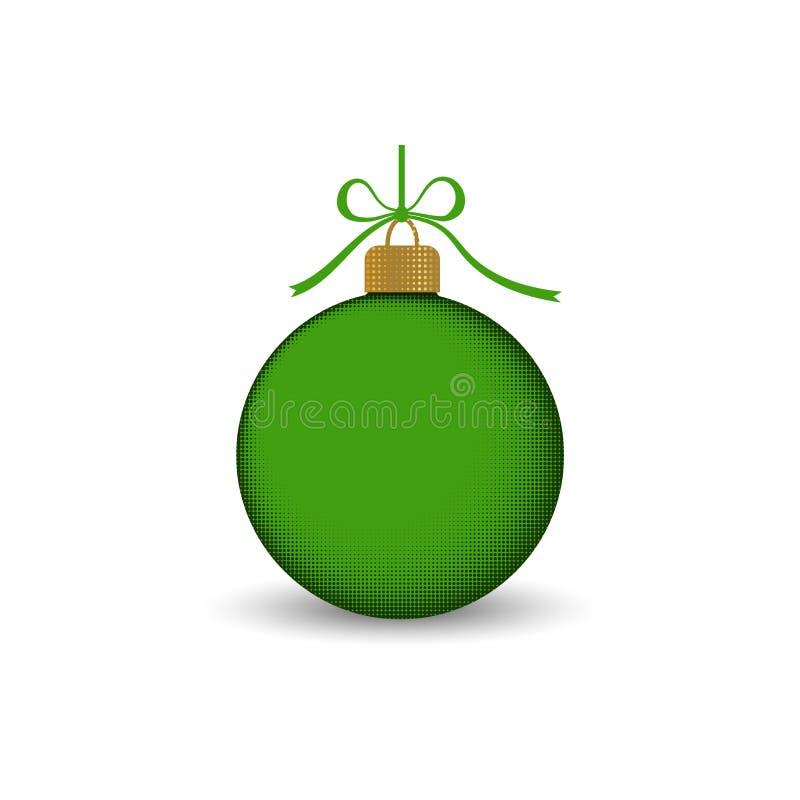 与丝带弓的圣诞树球 绿色中看不中用的物品装饰,隔绝在白色背景 新年好的符号 向量例证