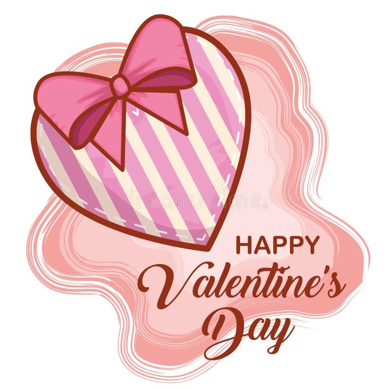 与丝带弓的心脏对愉快的情人节 库存例证